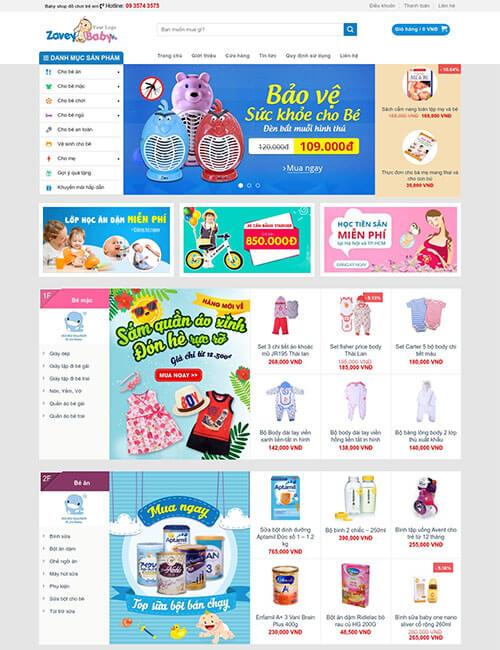 Mẫu website bán đồ dùng đa dạng cho trẻ em