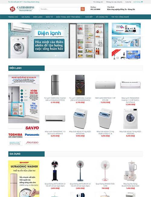 Mẫu website cung cấp thiết bị điện máy điện lạnh