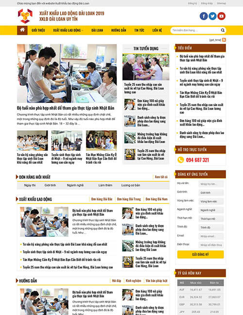 Mẫu website đào tạo xuất khẩu lao động Đài Loan