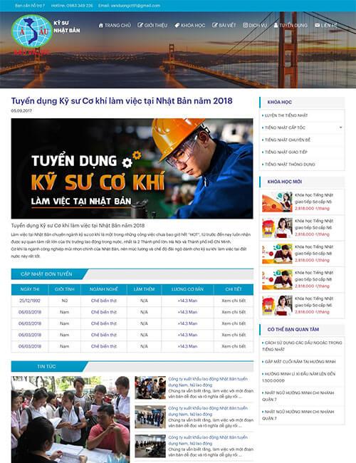 Mẫu website tuyển dụng đào tạo cơ khí làm việc tại Nhật