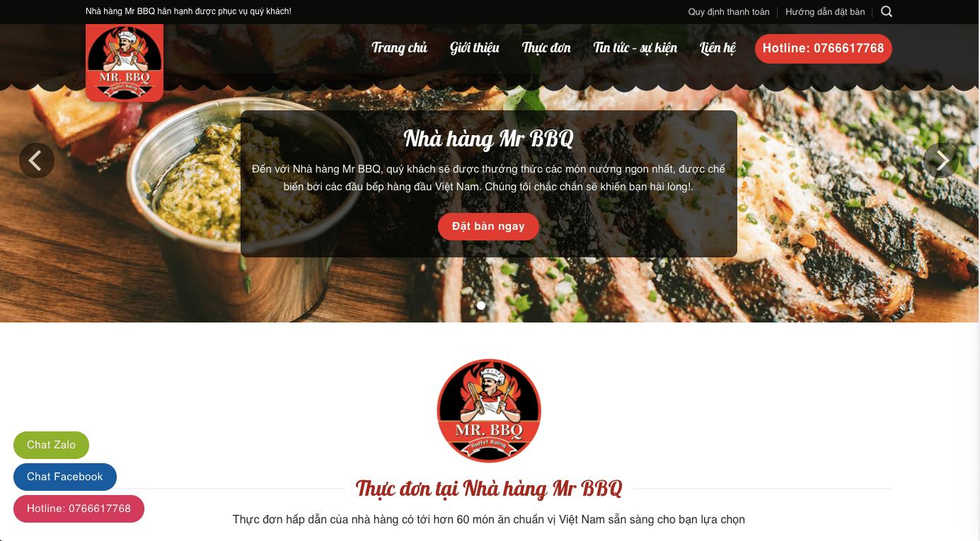 Mẫu website nhà hàng Buffet