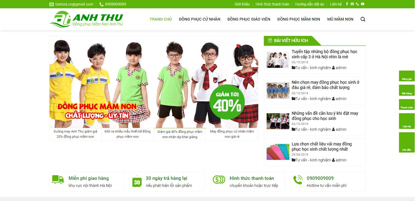 Mẫu website bán áo quần