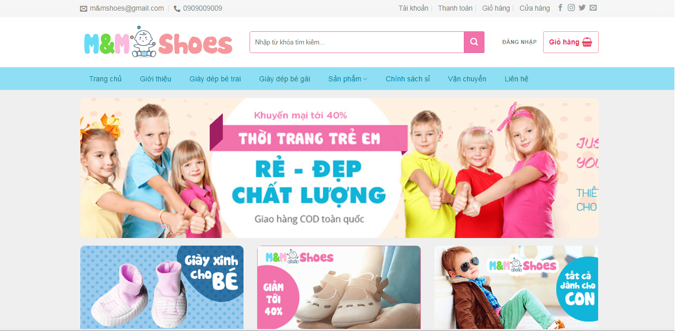 Mẫu website babyshop 2