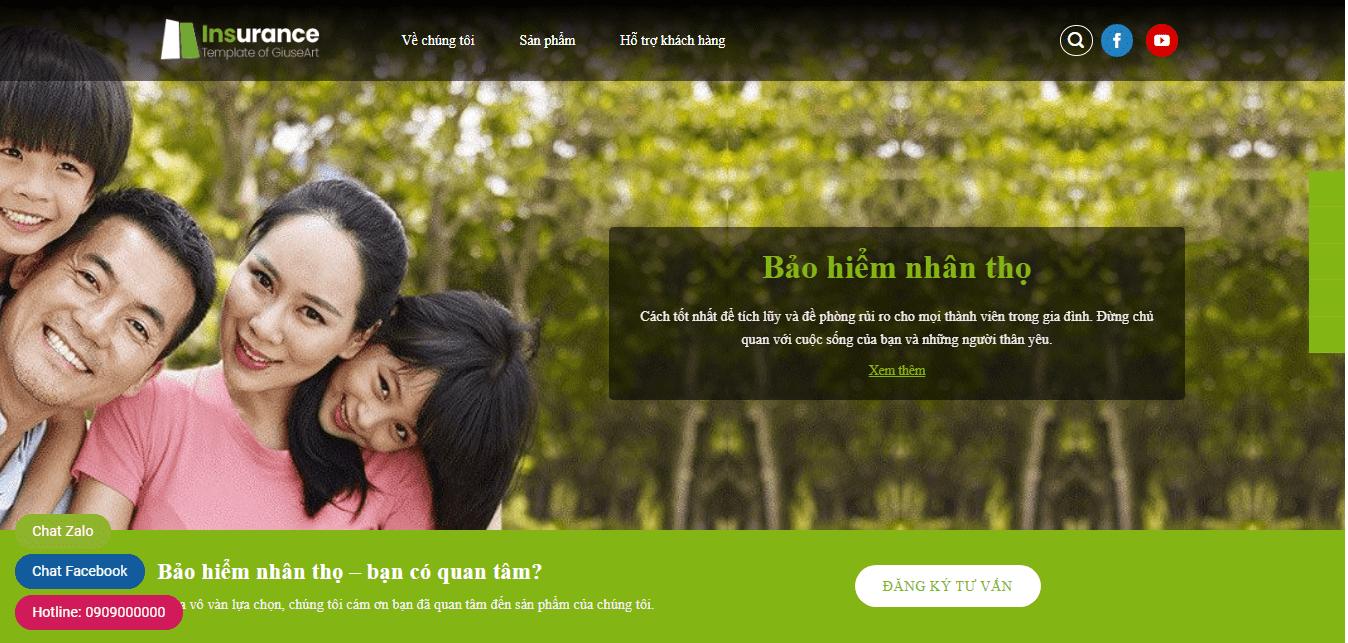 Mẫu website bán bảo hiểm nhân thọ