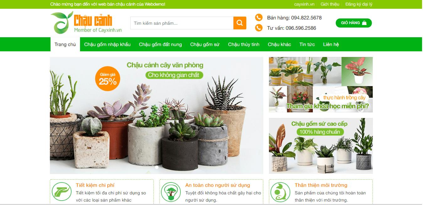 Mẫu website bán chậu cây, cây cảnh