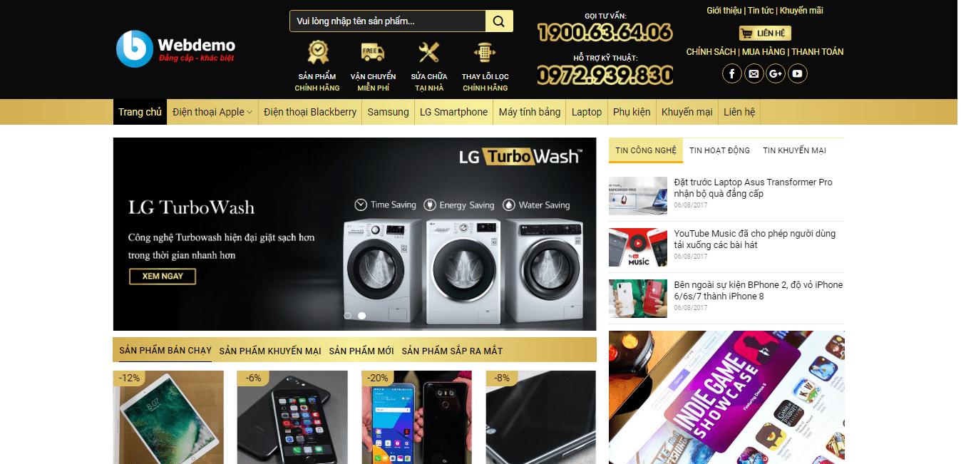 Mẫu website bán hàng điện máy