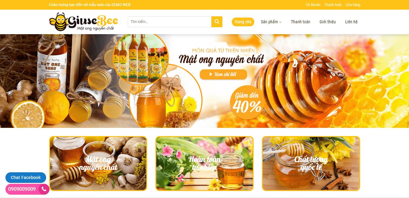 Mẫu website bán mật ong