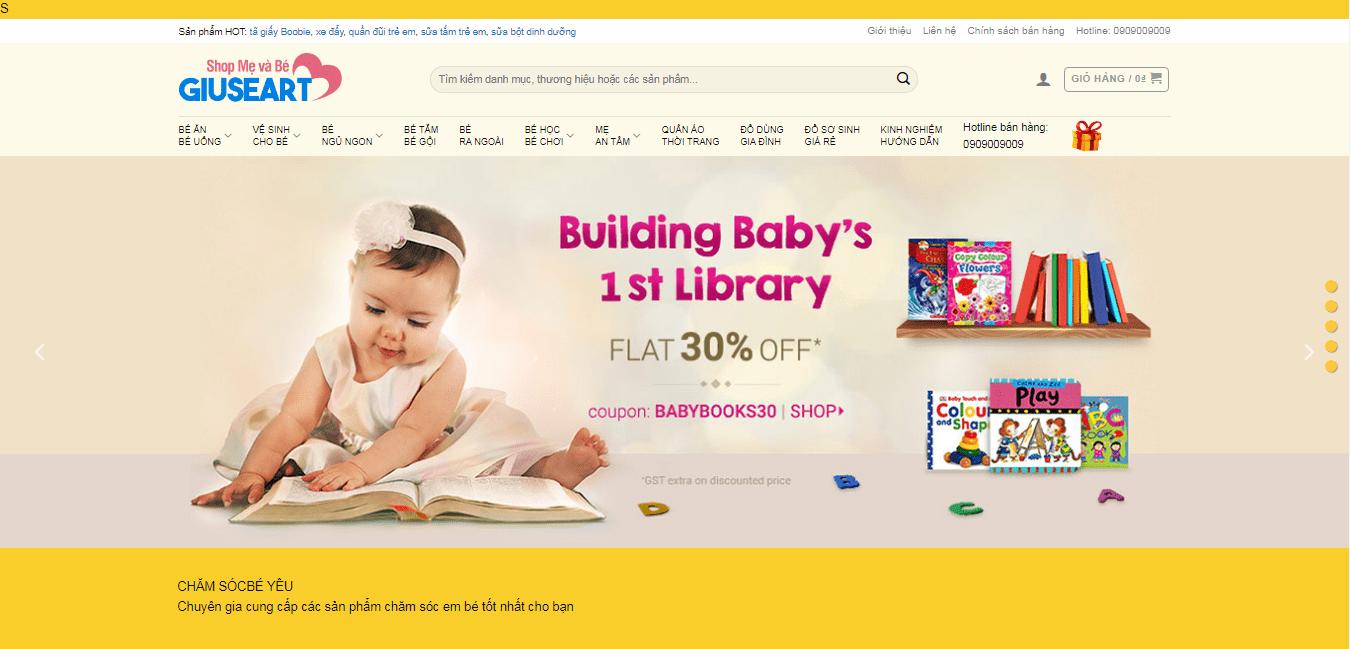 Mẫu website bán hàng mẹ và bé