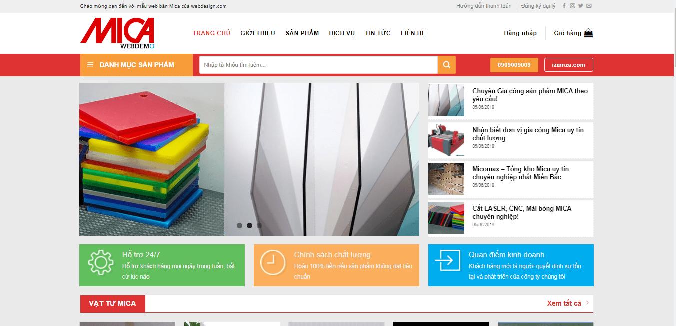 Mẫu website bán hàng mica