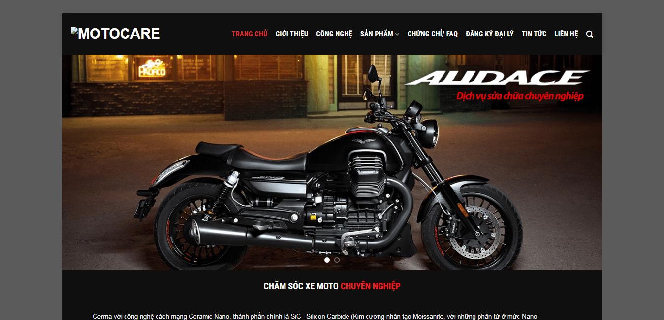Mẫu website bán xe máy, motocare