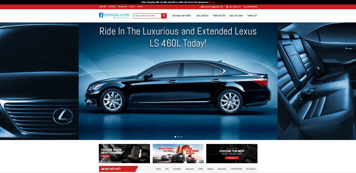 Mẫu website phụ kiện ô tô 2