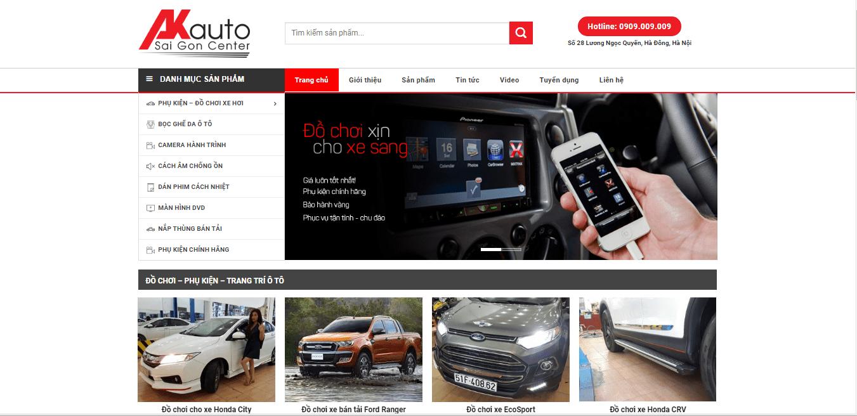 Mẫu website phụ kiện ô tô