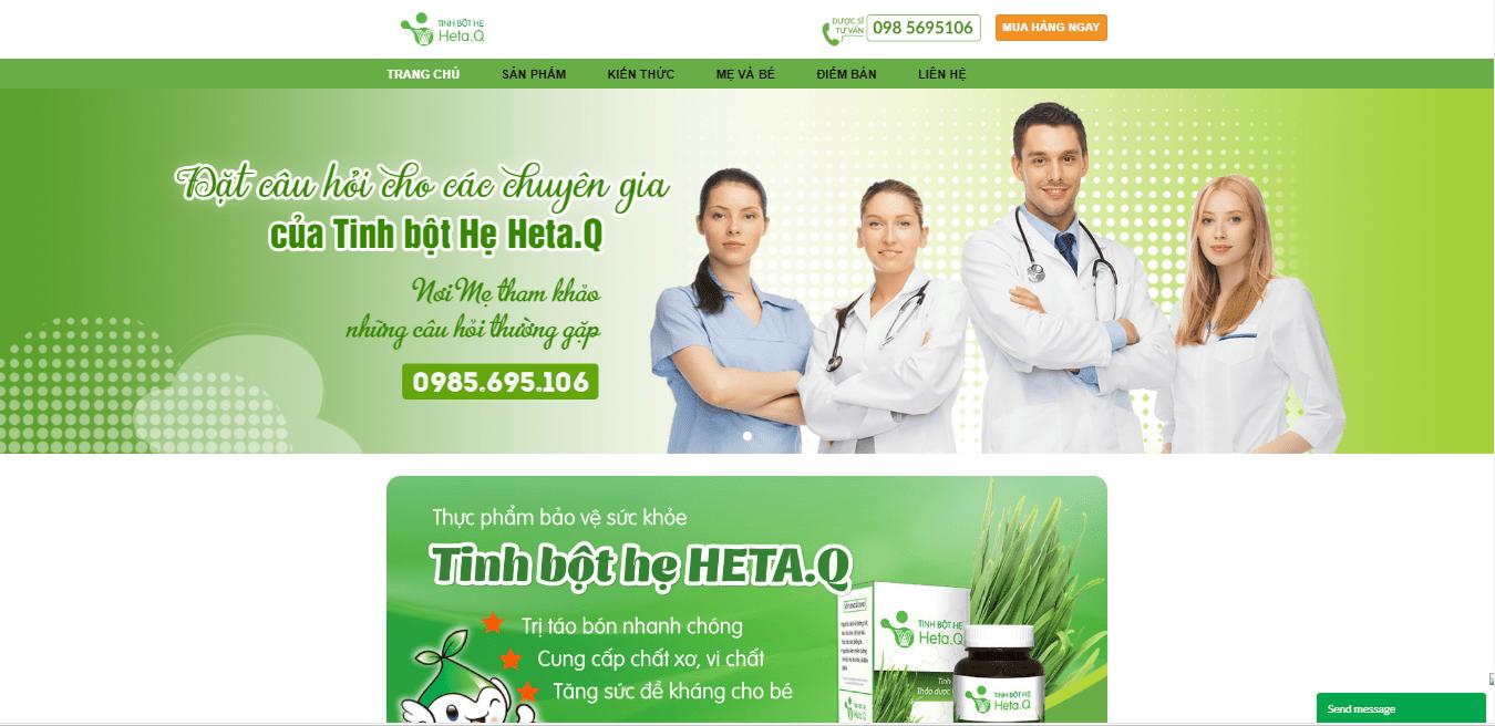 Mẫu website bán tinh bột