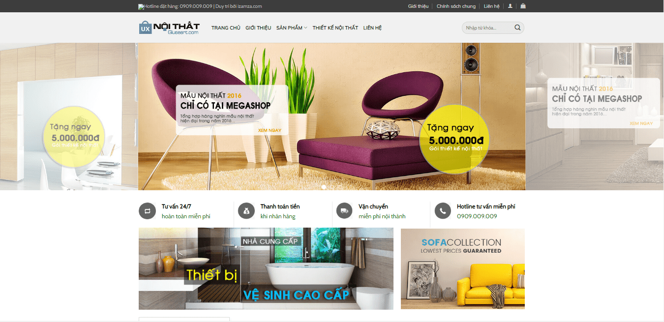 Mẫu website shop nội thất